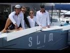 Foxtrot on waves of Atlantic ocean - control of catamaran technologies - Gunboat 66 SLIM
